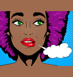 confused african woman with open mouth vector image