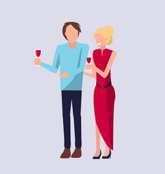 couple standing and drinking vector image