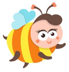 Cute bee cartoon flying isolated vector