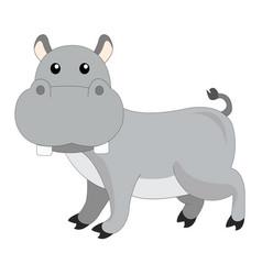 Cute grey hippopotamus vector