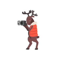 Deer in warm vest taking pictures with a camera vector