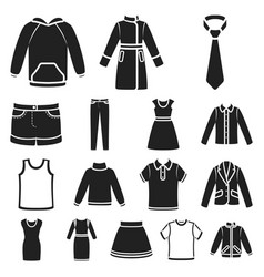 Different kinds of clothes black icons in set vector