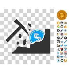 Dollar mining hammer icon with bonus vector