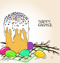 easter cake eggs and branch pussy willow vector image