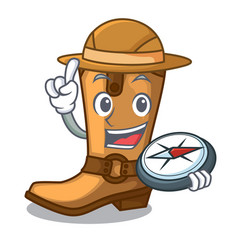 explorer old cowboy boots in shape character vector image