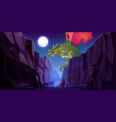fairytale dragon flying above canyon at night vector image