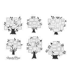 Family trees with photo frames vector