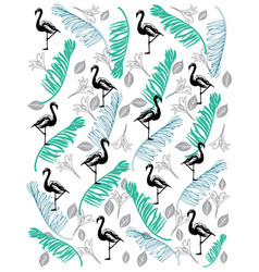 flamingo pattern with coco leaf vector image