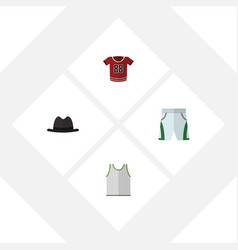 Flat dress set of t-shirt singlet trunks cloth vector