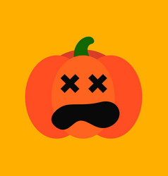 flat icon stylish background halloween pumpkin vector image
