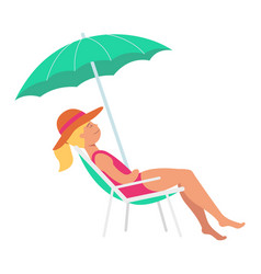 flat woman in lounger under sun umbrella vector image