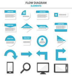 Flow diagram Infographic elements flat design set vector image