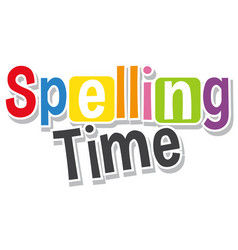 Font design for word spelling time in different vector