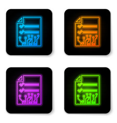 glowing neon smart contract icon isolated on vector image