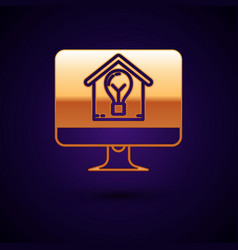 Gold computer monitor with smart house and light vector