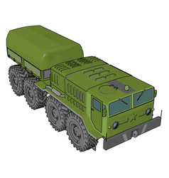 green military vehicle on white background vector image