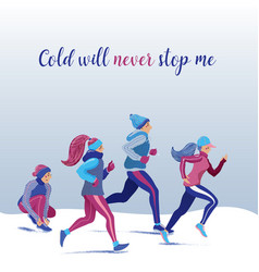 group people running jogging in winter park vector image