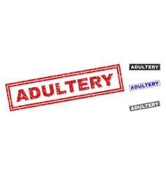 grunge adultery scratched rectangle stamp seals vector image
