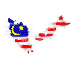 grunge map malaysia with malaysian flag vector image