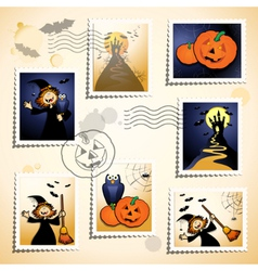 halloween stamp set vector image
