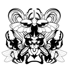 hand drawn beetles with wings vector image