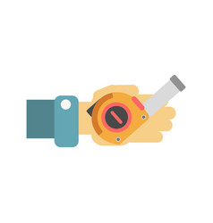 Hand with tape-measure vector