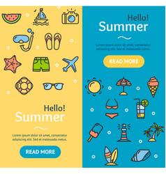 hello summer banner vecrtical set vector image vector image