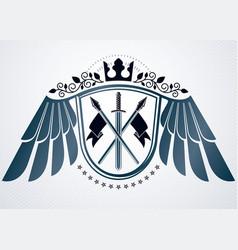 Heraldic coat of arms decorative vintage emblem vector