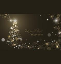 Iluminated christmas tree with glitter stars vector