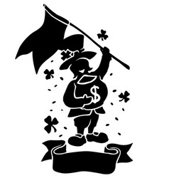isolated black silhouette of leprechaun with flag vector image