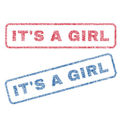 it s a girl textile stamps vector image