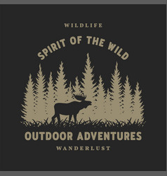 journey into wild badge t-shirt design on a vector image