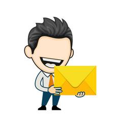 Joyful man got an important letter happy vector