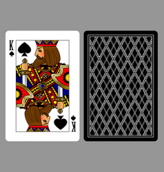 King of spades playing card and the backside vector