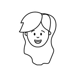 line woman head with hairstyle design vector image