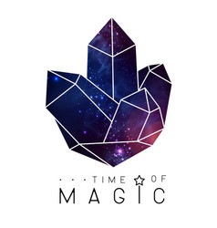 Magic crystal with space background inside vector
