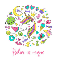 Magic unicorn and collection cute stickers vector