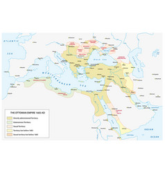 map ottoman empire at time the vector image