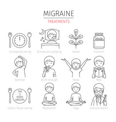migraine treatment outline icons set vector image