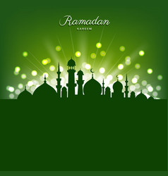 mosque silhouette and abstract light for ramadan vector image