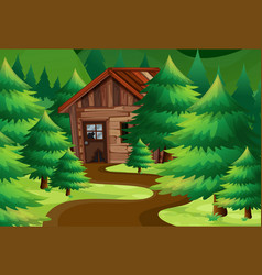 Old wooden cottage in the woods vector