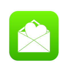 open envelope with heart icon digital green vector image