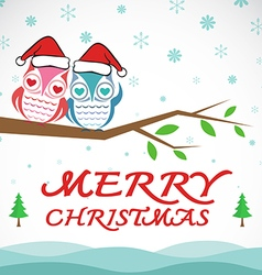 Owl merry christmas vector image