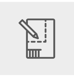 Paper and pencil house sketching thin line icon vector image