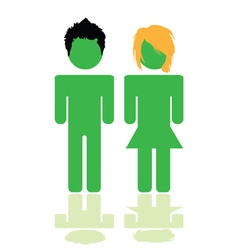 people in green color with hair style vector image