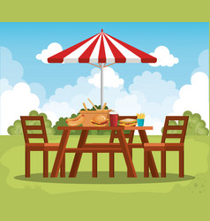 Picnic table with umbrella scene vector