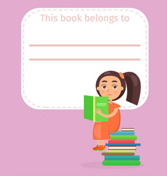 Place for book signing with girl on pile of books vector