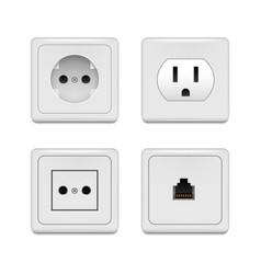 realistic detailed 3d plastic white blank socket vector image