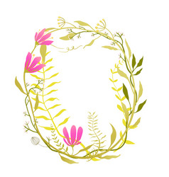 romantic flowers frame vector image