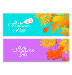 set of autumn banners for seasonal sale with vector image